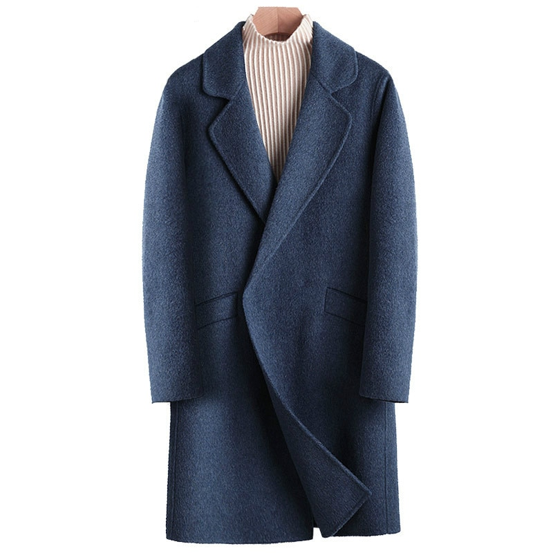 Abrigos de lana para Hombre, Chaqueta larga de doble cara, de Alpaca,...