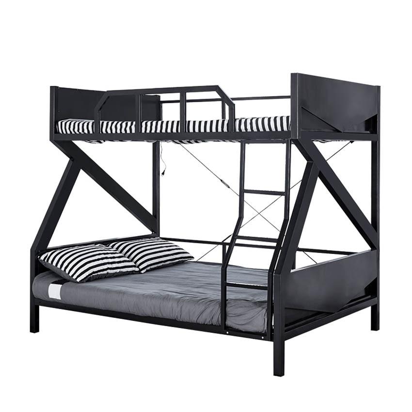 متعددة الوظائف سرير بطابقين غرفة نوم ملونة مصباح الحديد الإطار سرير للفندق مدرسة الاطفال الكبار التوأم هيكل سرير مع درابزين سلم