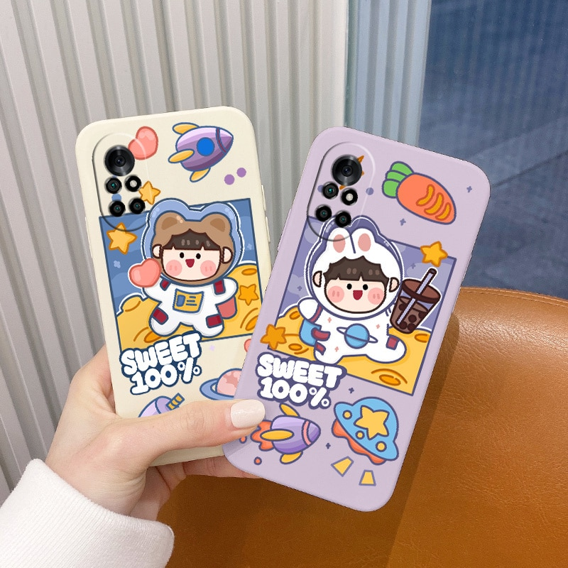 Stain Resistant Cute Pattern Case For Huawei Nova8 8Pro 8SE Nova 7 7Pro 7SE 6 6se 5 5Pro 5Z 5I 5Ipro 5T 4 4E Liquid Silicone Cov  - buy with discount