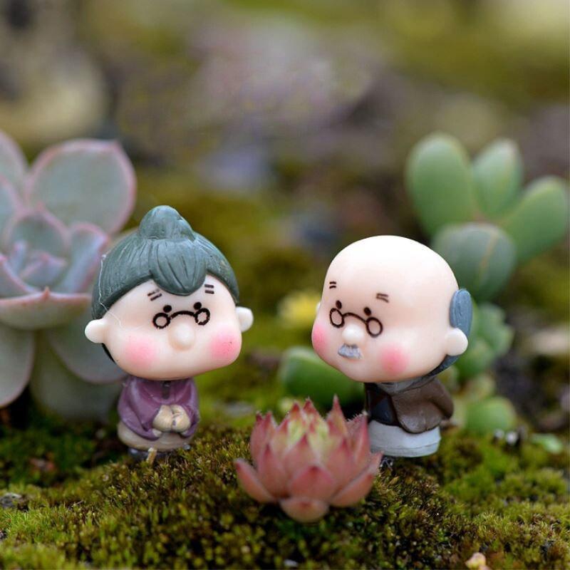 2PcsPastoral muñecas felices de los padres macetas en miniatura decoración del jardín de hadas del abuelito/La abuelita ornamentos figura de decoración P20