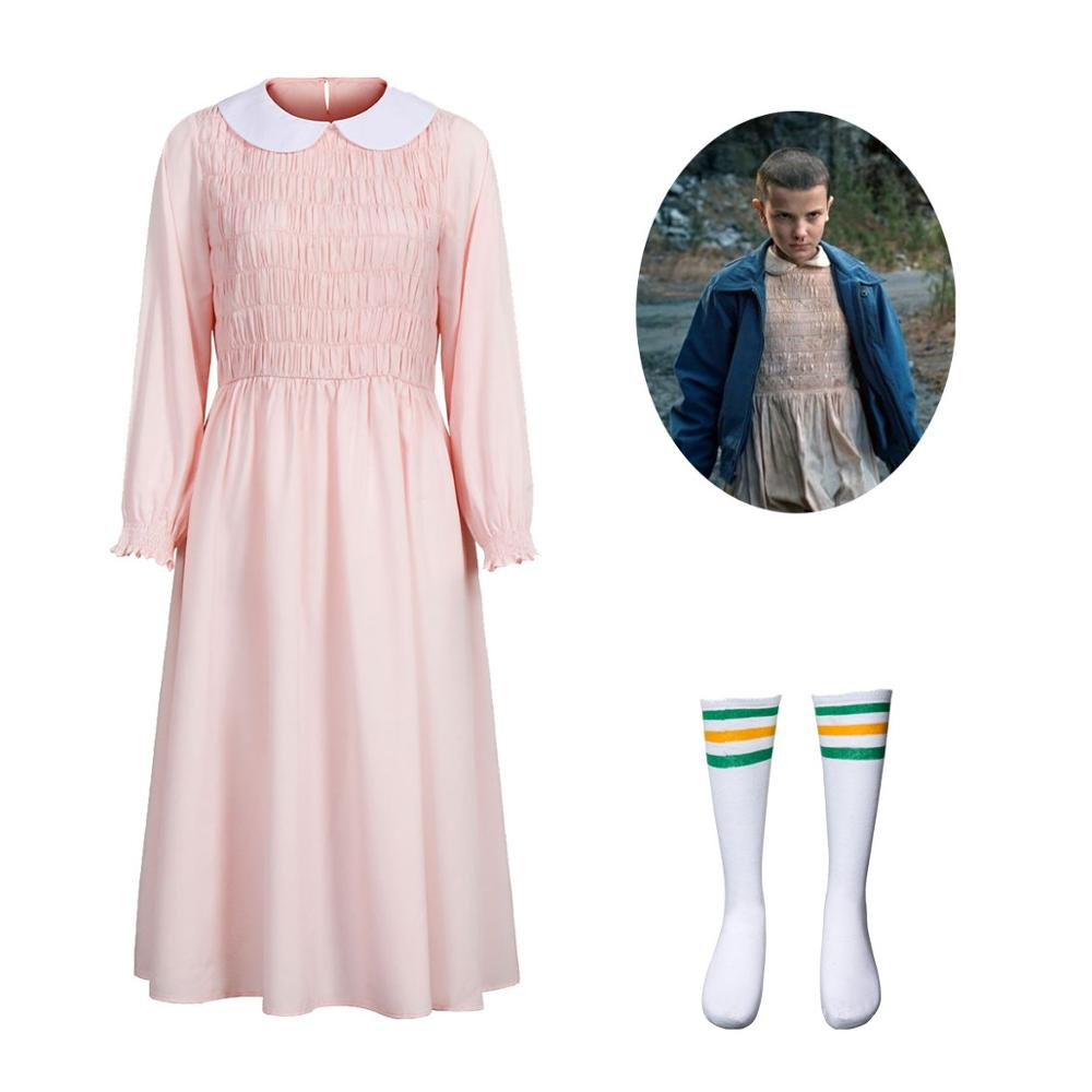 Elevens Cosplay vestido rosa para Stranger Things muñeca Collar Navidad Fiesta abalorios Vestidos Mujer chica Halloween Cosplay disfraz