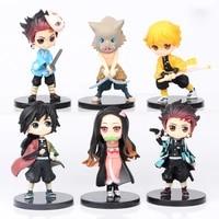 6pcsset anime demon slayer figure kimetsu no yaiba figure q posket kamado tanjirou kamado nezuko agatsuma figure toys 7cm