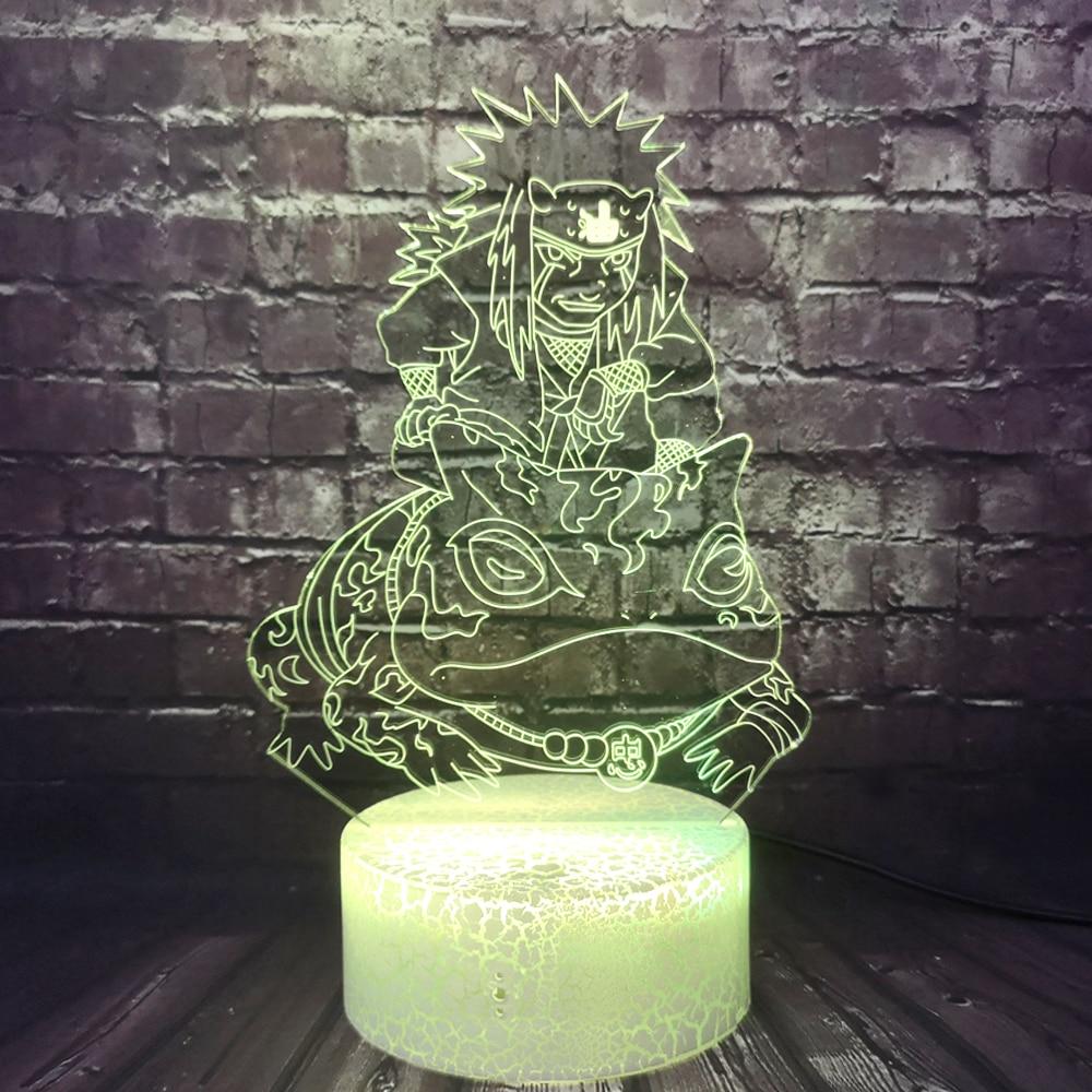 Naruto Table Lamp Gama Sennin LED 3D Night Light Japanese Manga Jiraiya Figure Gift for Kids Child Bedroom Lighting Table Lamp