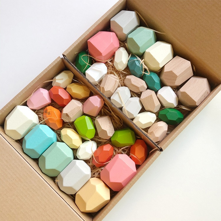 20pcs Wooden Jenga Building Block Colored Stone Creative Educational Toys Nordic Style Stacking Game Rainbow Stone Wooden Toy colored stone baby toy wooden jenga building block creative educational toys nordic style stacking game rainbow stone wooden toy