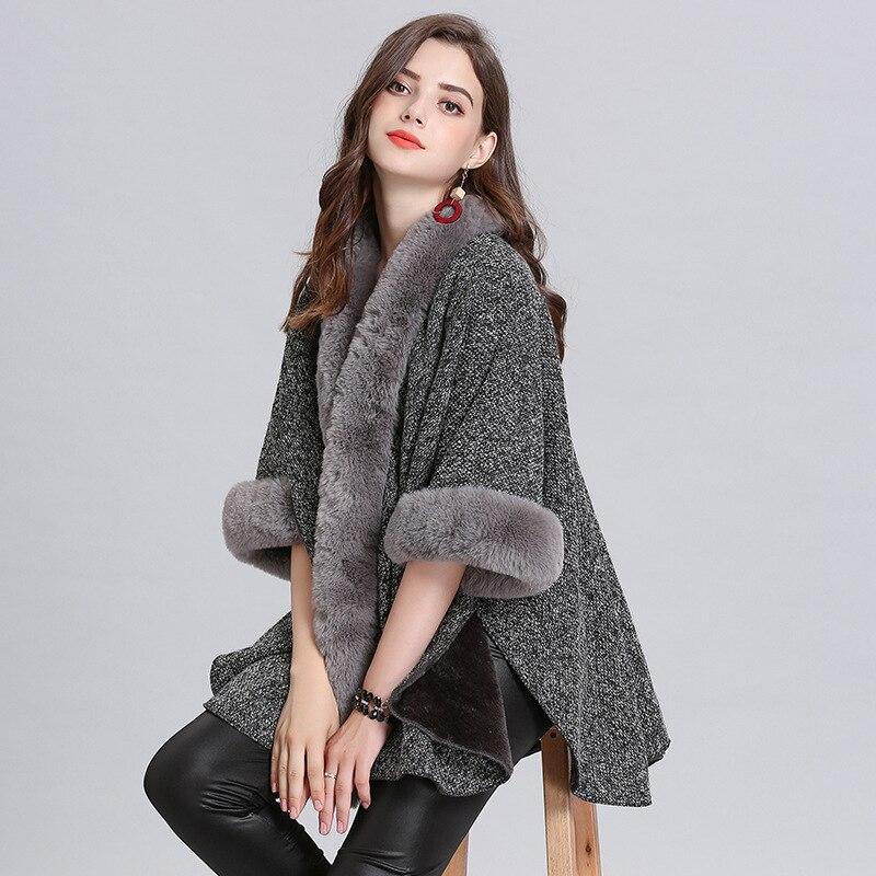 Spanish style new Fashion female Keep warm plus velvet imitation fox fur collar large size cardigan knitted shawl shawl cloak