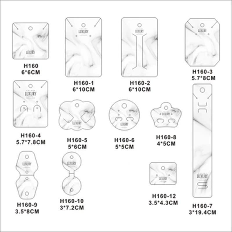 ¡Novedad de 100 Uds! Horquilla de embalaje de etiquetas de tarjeta de joyería, etiqueta de tarjeta, pendientes marmoleados blancos, collar, accesorios de tarjetas de exhibición
