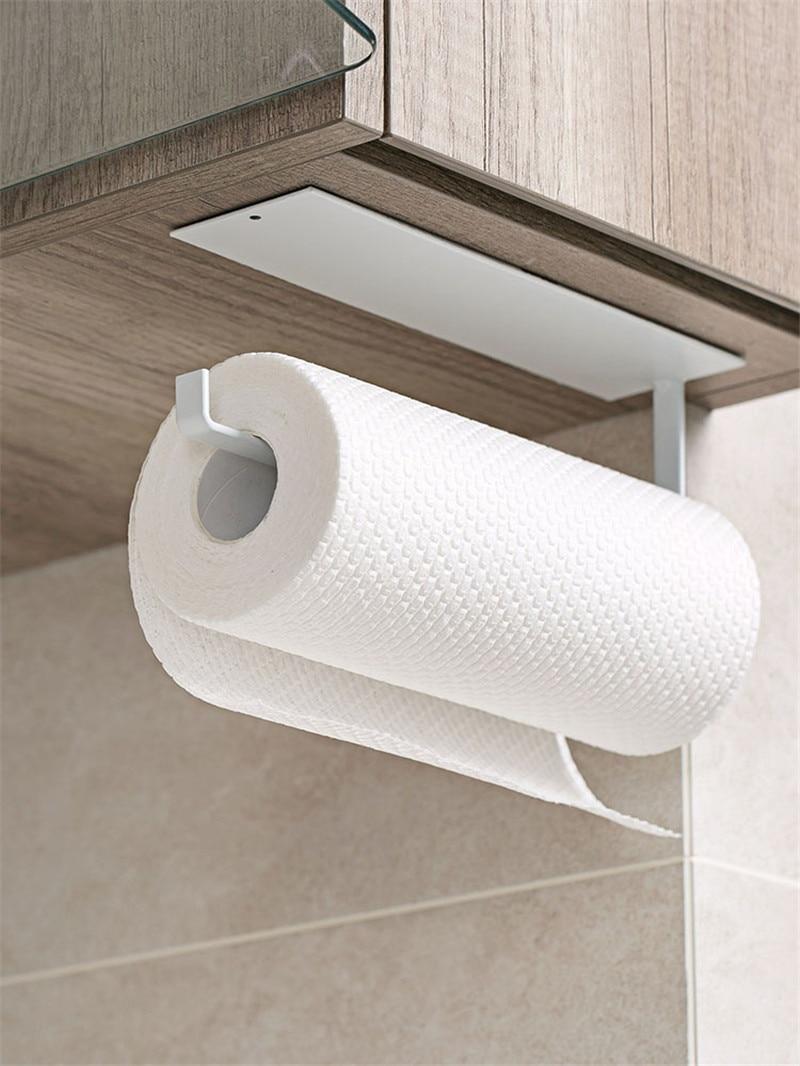 Cocina metal papel gancho de toalla Juego de Herramientas de baño negro gancho de Bata toalla riel Bar Rack Bar tejido para estantería papel negro blanco