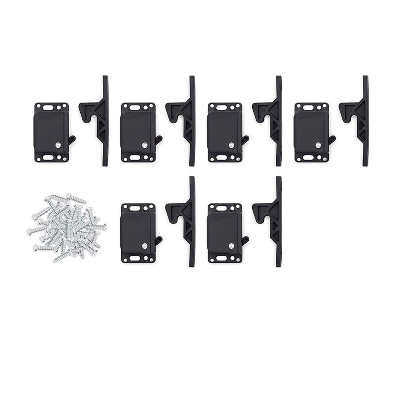 6 Pairs of Caravan Drawer Lock 5-Pound Cabinet Door Lock Push Lock Push Latch Grab for RV Trailer Caravan Cargo Trailer