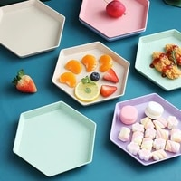 pure color hexagon square dessert snack food wheat straw thickened tray fruit personalized tray supplies