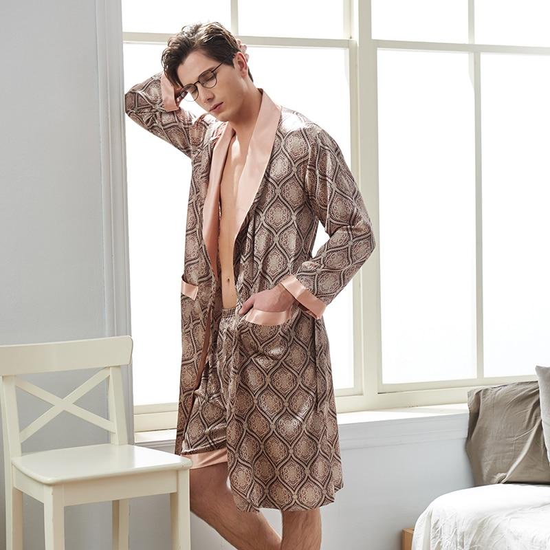 Лед шелк мужчины одежда для сна длинный рукав халат атлас шелк из двух частей халат шорты комплекты искусственный шелк одежда для сна халаты мужские 20507