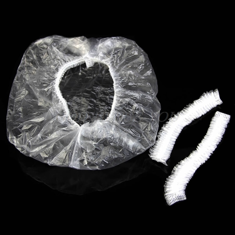 100pcs Disposable One-off Hotel Home Shower Bathing Clear Hair Elastic Caps Hats Drop Shipping