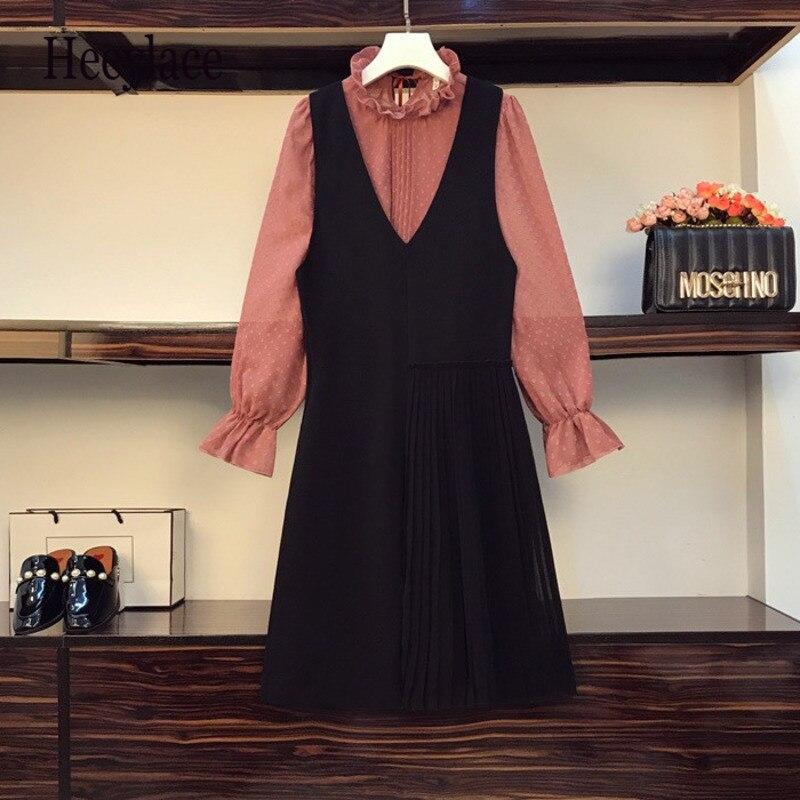 حجم كبير الخريف الكورية المرأة بلوزة طويلة الأكمام و سترة دون أكمام فساتين قطعتين مجموعة للنساء Outfits وتتسابق 2021 الدعاوى