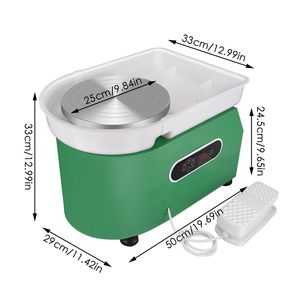Electric Pottery Wheel Machine LCD Display Ceramic Working Clay Crafts Pottery Art Machine With Pedal Turntable DIY Craft Tools