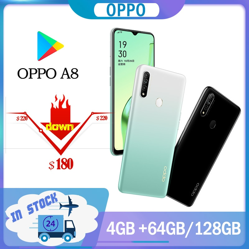 Перейти на Алиэкспресс и купить Смартфон Oppo A8, 4G, LTE, 4230 мАч, 6,5 дюйма, ЖК-дисплей, 1600x720P, камера 12 МП