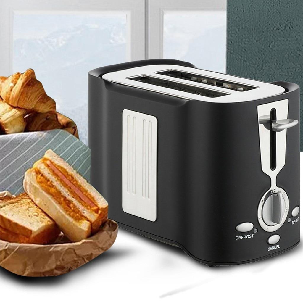المنزل التلقائي آلة تحميص الخبز الخبز الإفطار آلة الفولاذ المقاوم للصدأ 2 شرائح فتحات صانع خبز آلة المطبخ المحمصة # db4