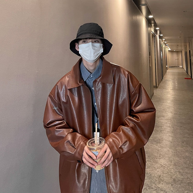 Осенняя мужская кожаная куртка, Корейская повседневная куртка, Мужская модная Свободная куртка, Мужская Уличная одежда, мотоциклетная курт...