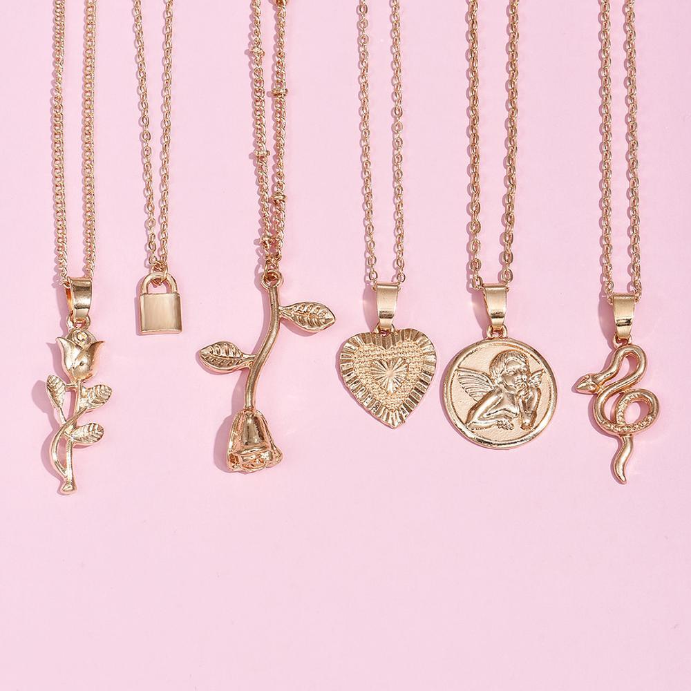 Alyxuy 6 pçs 2020 nova moda vintage rosa cobra colar pingente longo amor bloqueio corrente charme colar jóias femininas