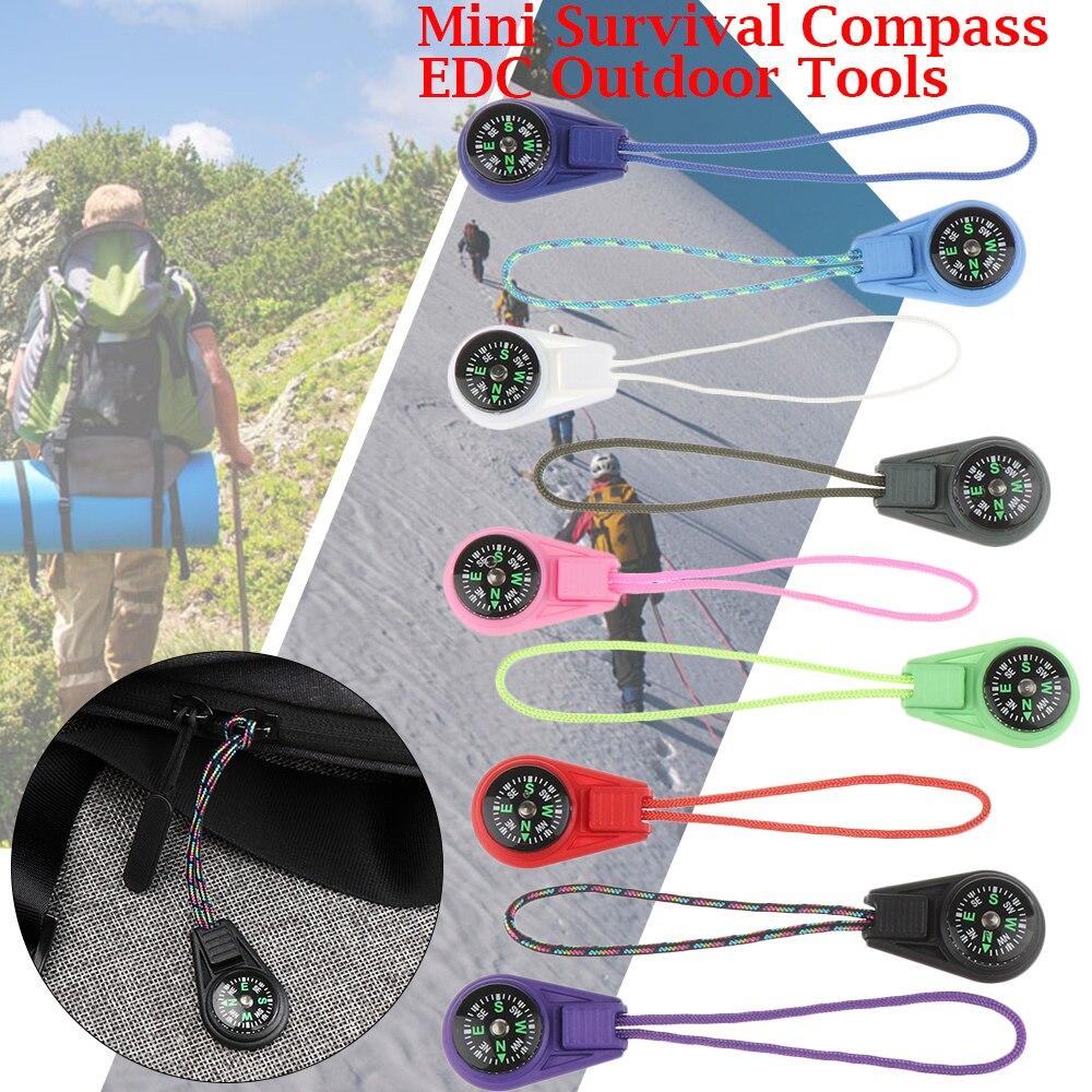 2Pcs Zipper Schwanz Seil Tasche Kompasse EDC Mini Kompass Für Paracord Armband Getriebe Überleben Keychain Camping Wandern Outdoor-Tool