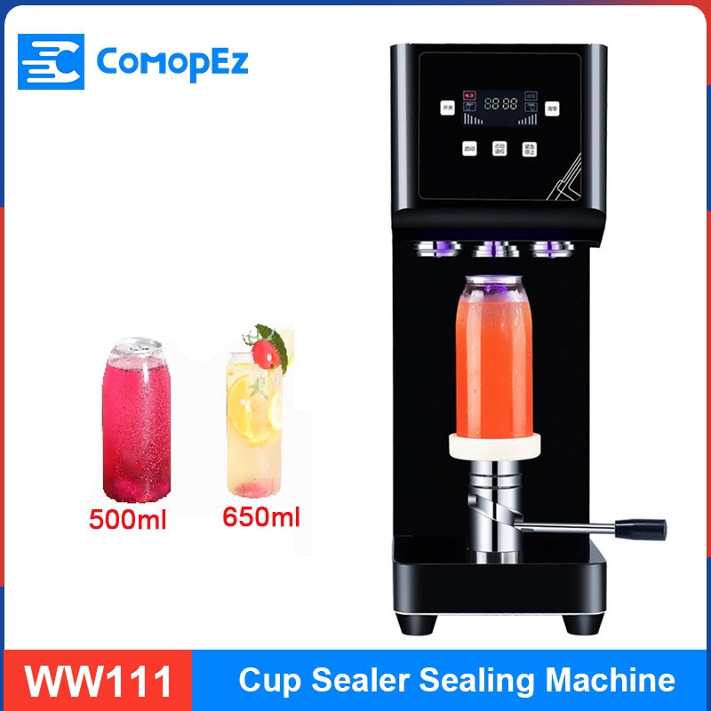 متجر الشاي الحليب التجاري يمكن ختم آلة لوحة ذكية كتم البيرة ضوء ملون ماكينة التغليف الأتوماتيكي