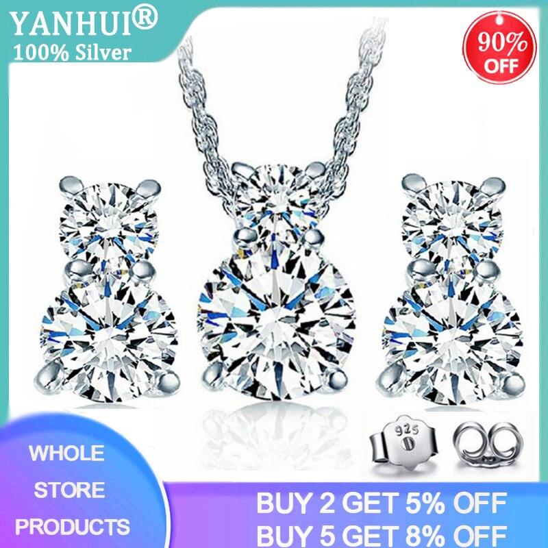 Yanhui noiva conjunto de jóias finas 925 prata esterlina 1.0ct zircônia diamante colar & brincos conjunto para presente aniversário feminino