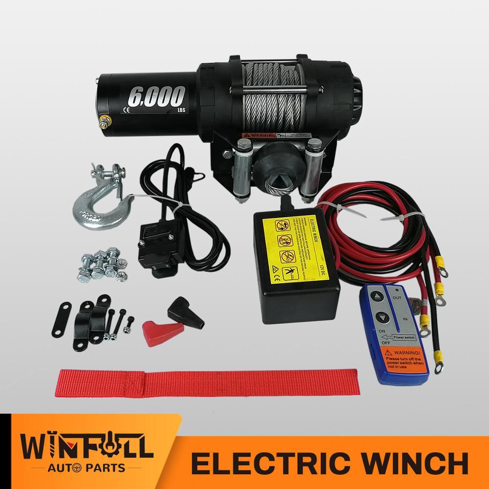 Wfheat-ونش كهربائي للتحكم عن بعد ، 12 فولت/24 فولت تيار مستمر ، 6000 رطل ، للسيارات ، المقطورة ، الشاحنة ، السيارة