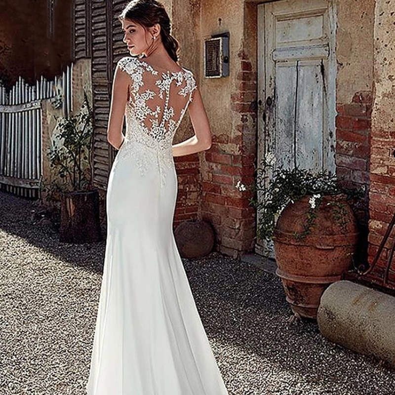 Mermaid Wedding Dresses Satin With Floor Length Sleeveless O-neckelegant Lace Bride Dresses Button With Custom Made Plus Size