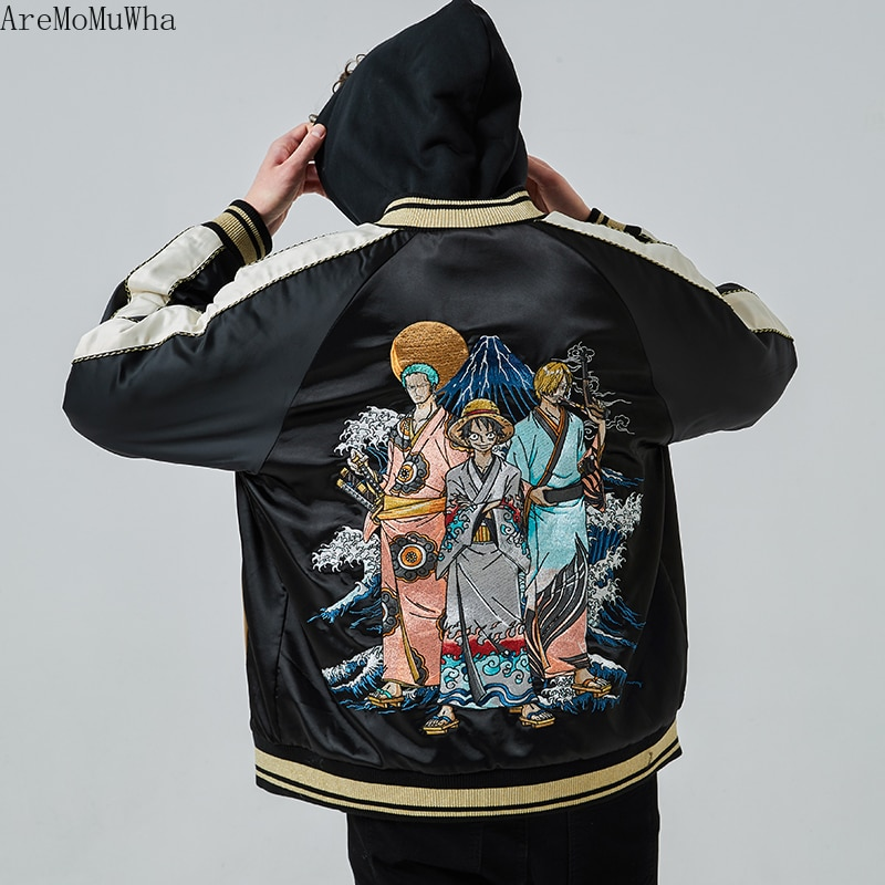Classic Japanese All-match One Piece Men's Embroidered Cotton Jacket Fall/Winter Thicken Personalized Fashion Jacket High Street