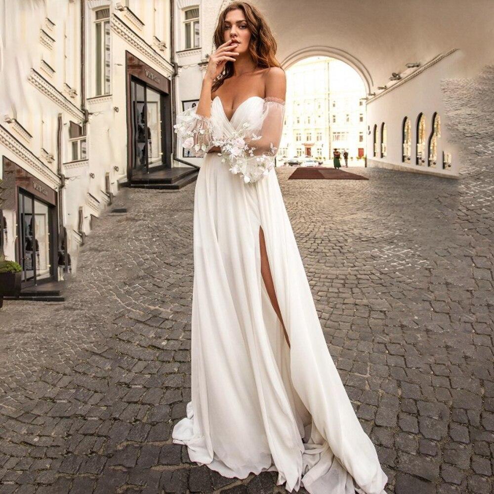 Vestido de novia desmontable de manga linterna Bohemia boda, gasa con Raja...