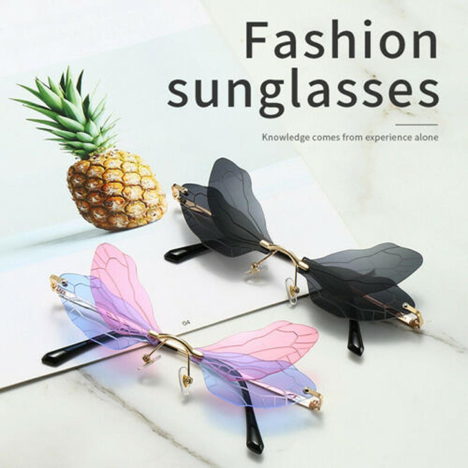 Colorful Butterfly Rimless Sunglasses Women Luxury Brand Designer Fashion Oversized Steampunk Rimles