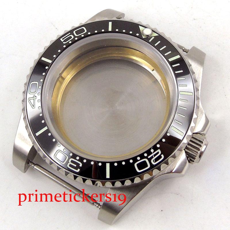 40mm cristal de zafiro negro cerámica bisel fecha reloj ase ajuste 2836 miyota 82 series movimiento hombre reloj