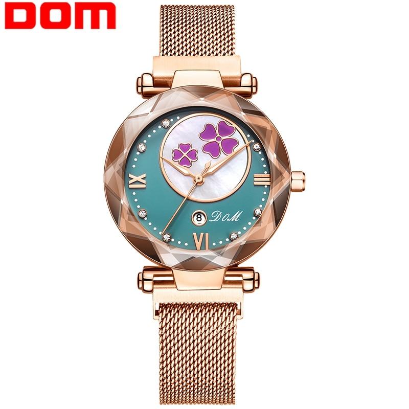 DOM New Watch Women Waterproof Steel Watches Luxury Flower Quartz Wristwatch Female Clock Reloj Mujer Charms Ladies Gift G-1275 enlarge
