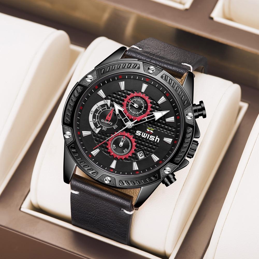 SWISH 2021 Classy Chronograph Watches for Men Casual Sports Clocks Male Waterproof Luminous Leather Military Quartz Wristwatch