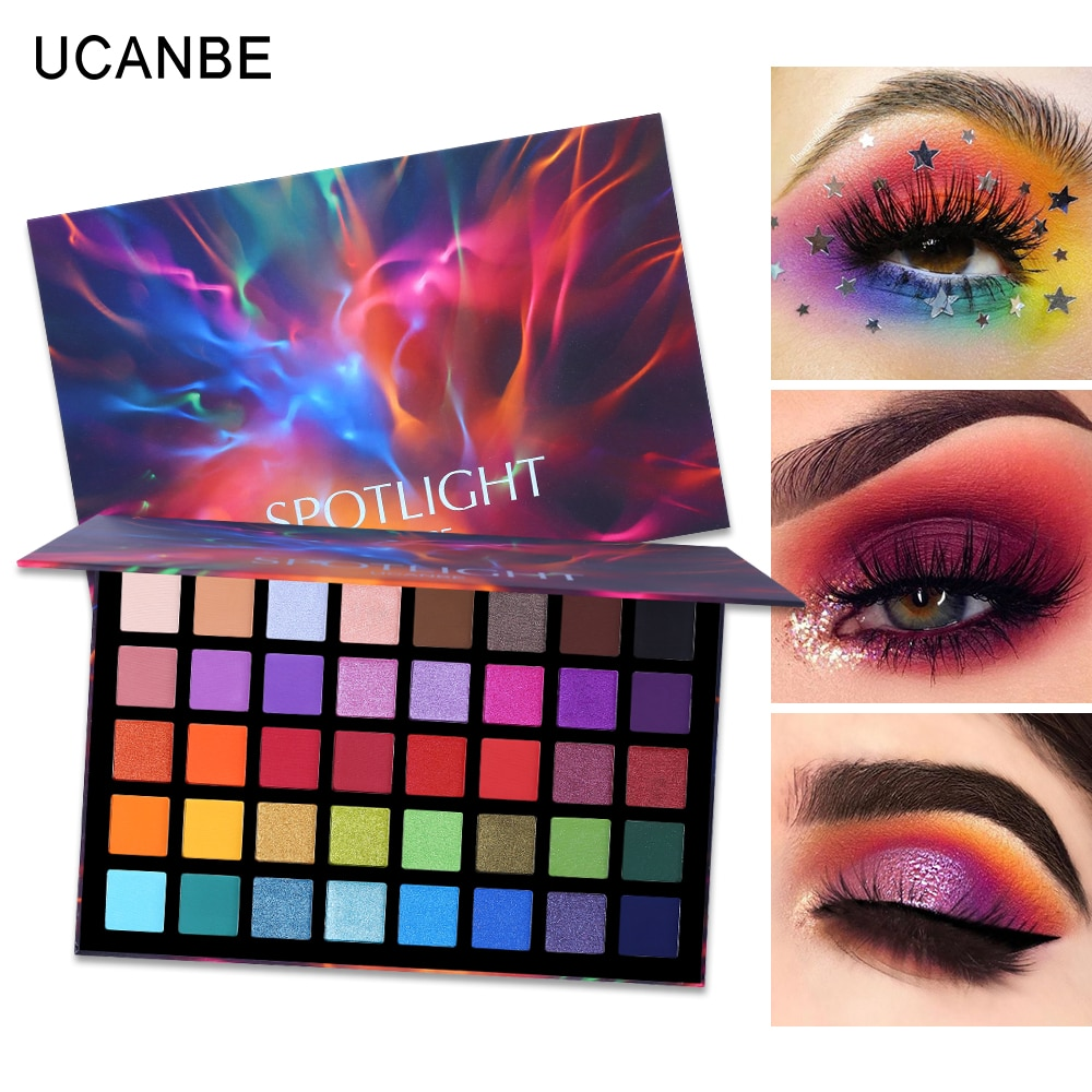UCANBE Spotlight 40 Color Eye Shadow Palette Colorful Artist Shimmer Glitter Matte Pigmented Powder Pressed Eyeshadow Makeup Kit changeable brand nude eye shadow palette makeup kit 18 color matte shimmer glitter pressed eyeshadow powder waterproof pigmented