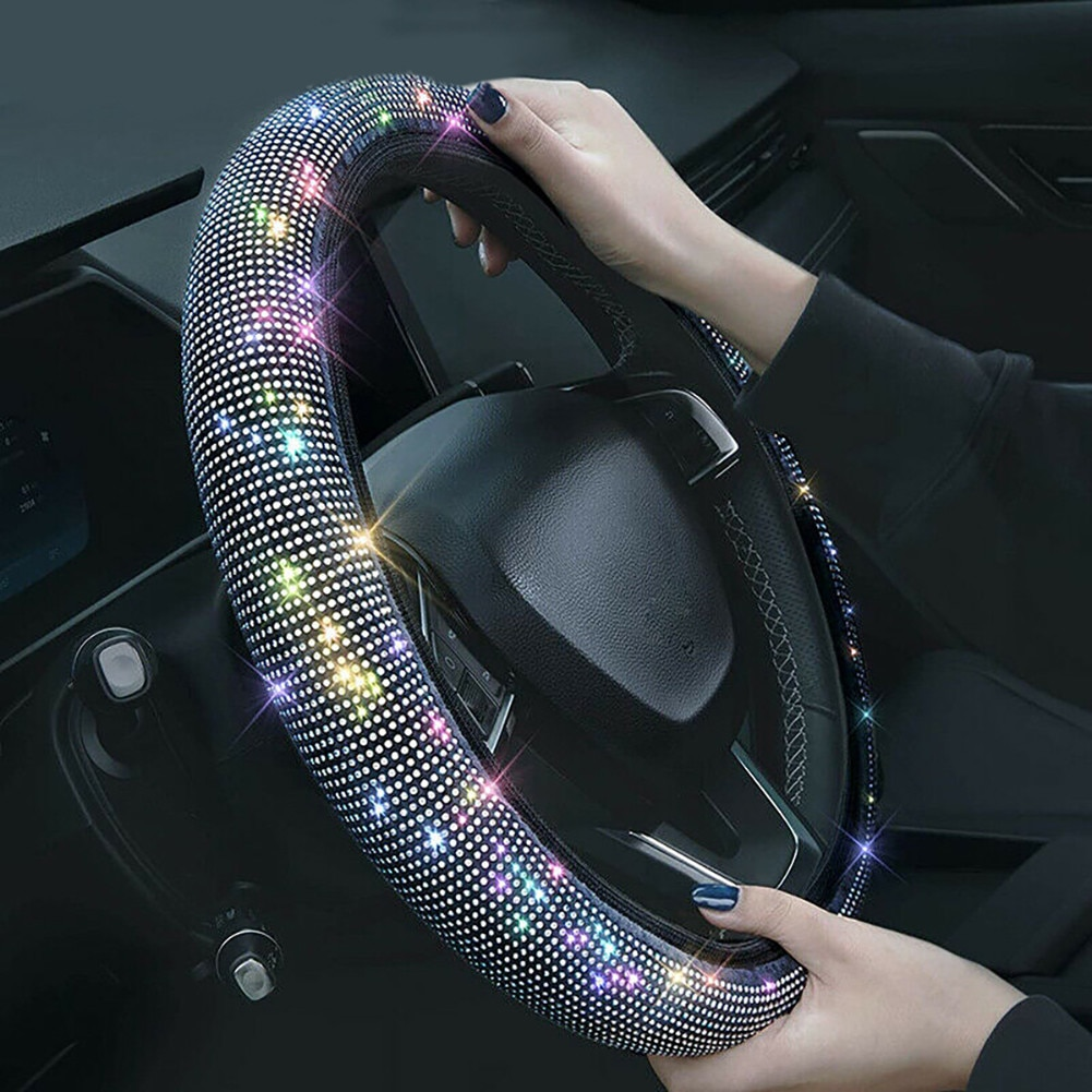 Чехол рулевого колеса автомобиля Universal подходит для 37 дюймов 38 см Car SUV Crystal Bling Стразы Украшение рулевого колеса
