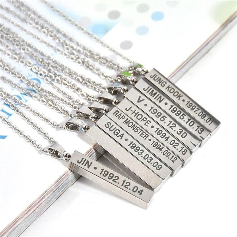 "Pinksee Kpop Bangtan Boys Silver Color Titanium Steel  ""SUGA"" ""J-hope"" ""Jimin"" ""V"" ""RM"" Letters Pendant Necklace Accessories"