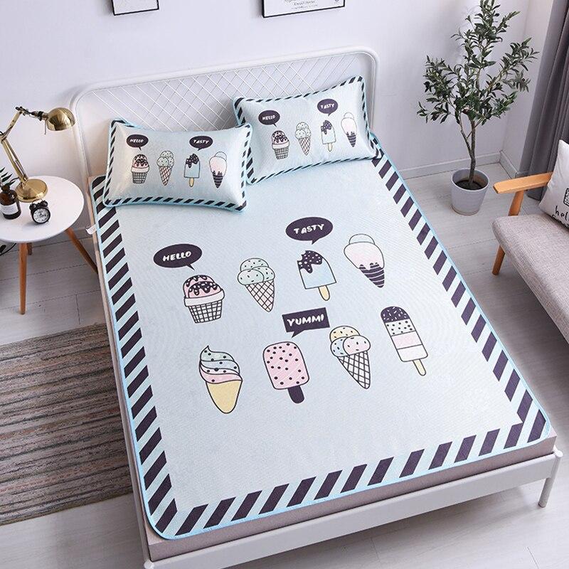 Dos desenhos animados sorvete cama colchão protetor capa lavável colchão topper folha gelo de seda macio crianças verão dormir conjunto esteira