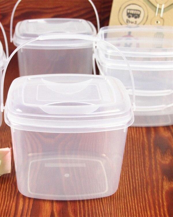 Cubo de plástico cuadrado transparente con tapa 2L, cesta portátil para embalar cangrejo de río, bote caliente, barril de pescado encurtido