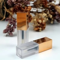 1pc 6ml frosted clear lip gloss tube with gold cap lip gloss tubes with rubber stopper and brush applicator lipstick vials