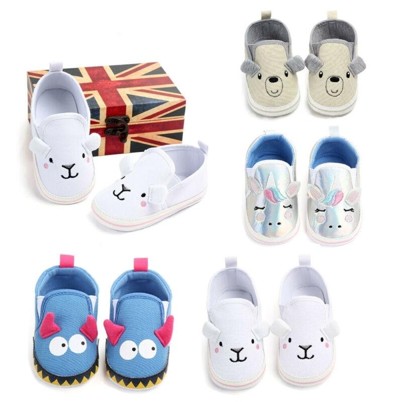 Newborn Kid Baby Boy Girl Shoes Cartoon Soft Sole Crib Shoes Canvas Causal Prewalker Sneakers