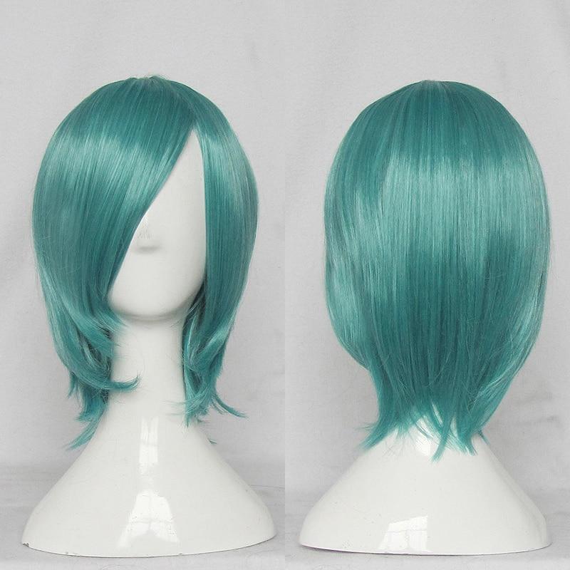 V Home Hatsune Miku Cosplay pelucas de alta temperatura de fibra de pelo sintético de pelo verde oscuro diario con red de pelo libre