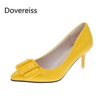 Doveriss موضة أحذية نسائية صيف جديد أنيق لون نقي أصفر أخضر consice الانزلاق على مضخات مثير مكتب سيدة حجم كبير 40