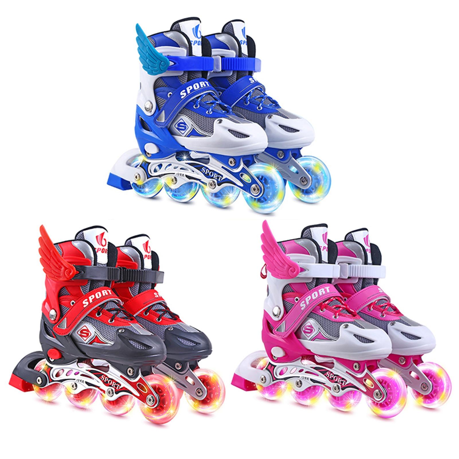 Детские роликовые коньки со вспышкой, высококачественные роликовые коньки из ПВХ, одноколесные роликовые коньки, роликовые коньки с регули...