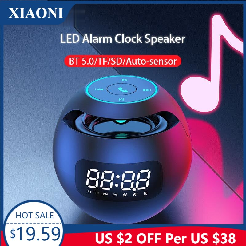 Minialtavoz Portátil con Bluetooth, Radio FM, despertador, LED, 2000mAh