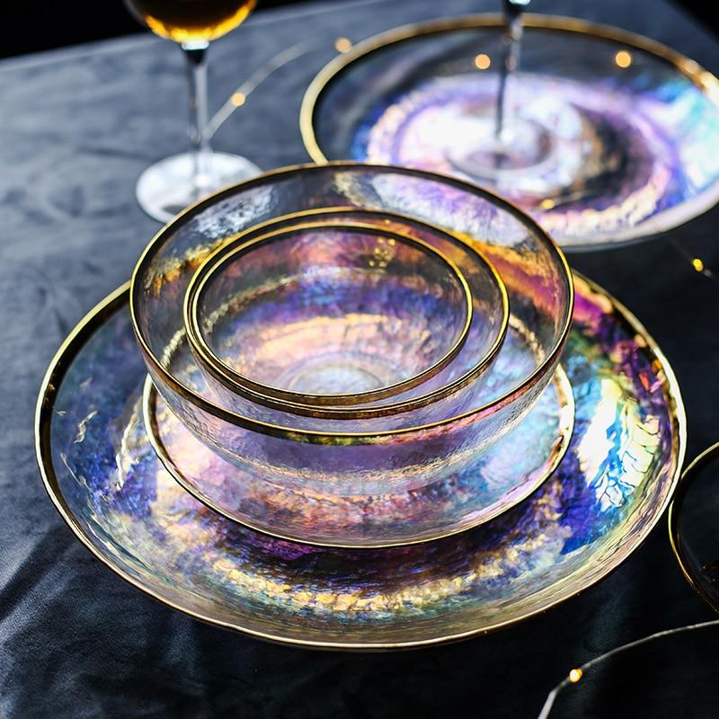 ANTOWALL Blenden farbe gemalt gold glas schüssel schüssel sieben farbe transparent hammer korn glas platte salat schüssel obstschale wester
