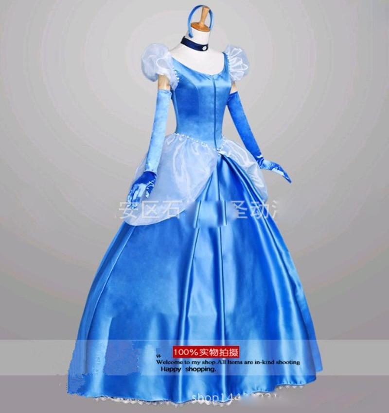 فساتين الأميرات الزرقاء سندريلا الجنية فستان الأميرات الكبار تأثيري حلي للحفلات