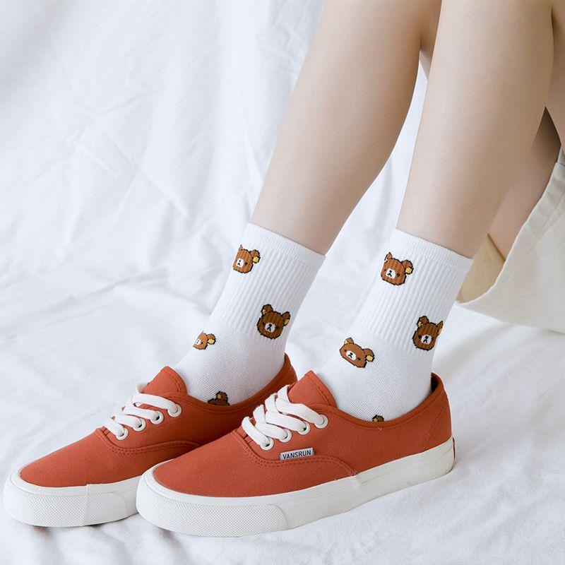 1 пара милых женских носков средней длины с вертикальными полосками и мультяшными медвежонками японские повседневные теплые осенне-зимние ...