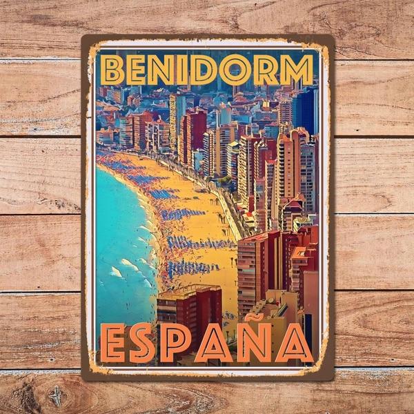 Benidorm Espana Metal Tin Sign Metal Sign Home Room Wall Decor Retro Vintage Style Travel Poster Bar/Pub/Man Cave