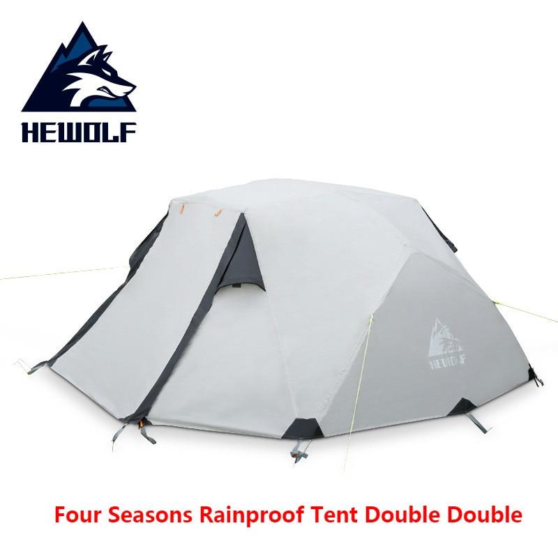 Hewolf Outdoor Camping Equipment Weatherproof Waterproof Tent Double Aluminum Belt Trolley Multiplayer Outdoor Winter Camping