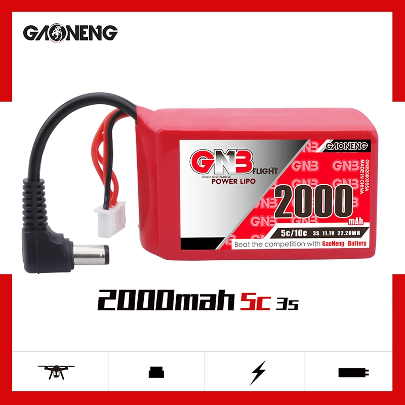 GAONENG GNB 2000mAh 3S1P 11,1 V 5C/10C Lipo batería con DC5.5 enchufe para 0 Fatshark Dominator Skyzone Aomway FPV gafas RC Drone