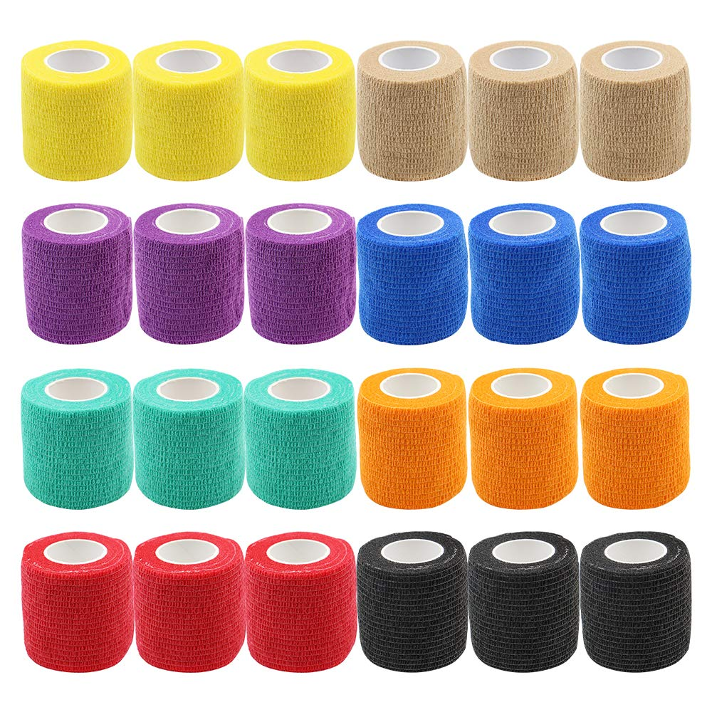 24 قطعة 8 اللون 5 سنتيمتر الوشم قبضة ضمادة غطاء الوشم الأغطية أشرطة محبوكة للماء الذاتي لاصق الاصبع المعصم الوشم اكسسوارات